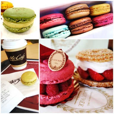Top left: Pierre Herme olive oil macaron Bottom left: McCafe pistachio macaron Top right: Lauduree macarons Bottom right: Laudree pastries