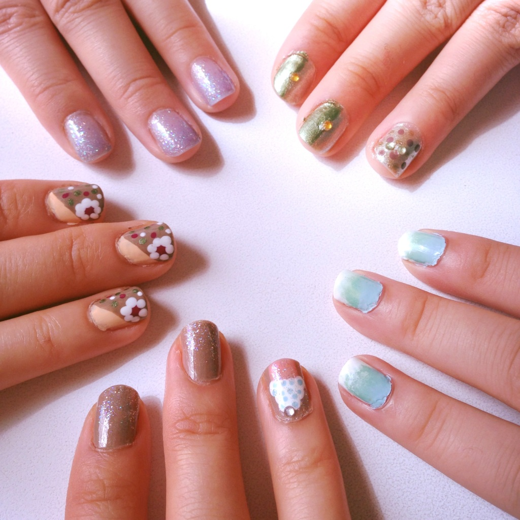 Going clockwise... Crystal: Cupcake Felicia: Flowers Anita: Glitter Gradient Maggie: Dots Angela: Ombre Gradient
