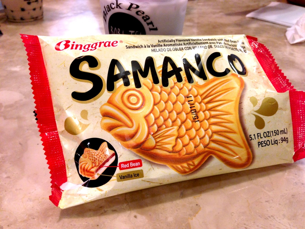 Fish shaped vanilla ice cream sandwich with red bean filling we snacked on at the mall