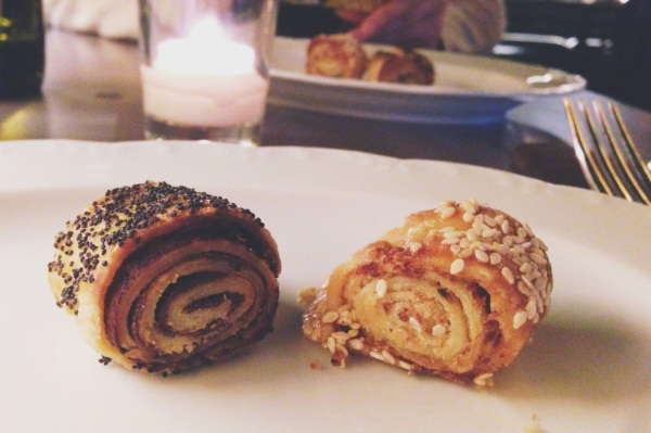 Complimentary mini rugelach at Abe Fisher (a Philly restaurant inspired by the cuisine of the Jewish diaspora)