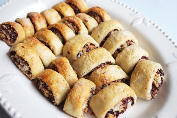 Tray of New Year's Eve potluck-ready rugelach!